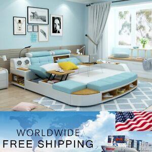 Smart High Luxury Multifunctional European Style  Genuine Leather Massage Bed