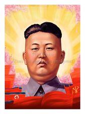 """North KOREA Propaganda Poster Print KIM JONG-UN Portrait, Flags 18x24"""" #NK017"""