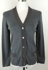 Juicy Couture L Gray Ribbon Trim Cardigan Sweater Stretch Knit Career Weekend