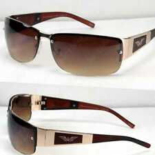 8eef05bc14 New Mens Rectangular Sunglasses Shades Wrap Brown Eagle Retro Vintage  Fashion