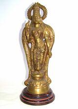 """Brass Hindu Lord Vishnu Sculpture 15.5"""" Tall"""