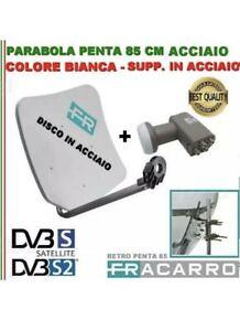 KIT PARABOLA 85 CM PENTA FRACARRO BIANCA IN ACCIAIO 211205 + LNB PER 4 DECODER