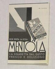 Pubblicità 1941 MENTOLA SIGARETTE CIGARETTES SMOKE advertising publicitè werbung