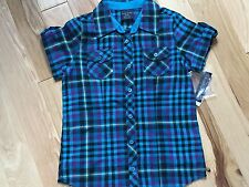 NWT TEAL CHECK Button Front Tunic Shirt By FADED GLORY Girls Size Sm 6-6X