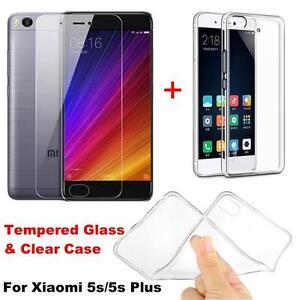 Gorilla Tempered Glass Screen Protector + Crystal TPU Case For Xiaomi Mi 5S Plus
