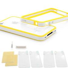 iPhone 4 4S Schutz Set TPU Hülle Case Tasche Bumper Design gelb weiss