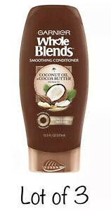 3- Garnier WHOLE BLENDS Smoothing Conditioner COCONUT OIL & Cocoa Butter (Lot 3)