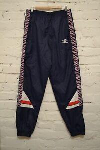 90s Vintage England Football Soccer Nylon Jogger Pants Blue Umbro Mens XL RARE