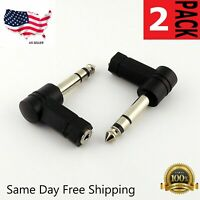 "2-Pack, 3.5mm Stereo Female to 1/4"" Stereo Male Right Angle Audio Adapter"