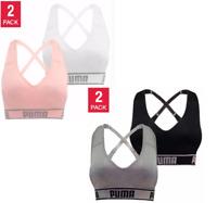 NEW!!! PUMA Women's Seamless Sports Bra Removable Cups 2-Pack, Black/Grey, Sz: M