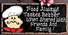 Fat Chef Sign Food Friends & Family Kitchen Wall Art Hanger Plaque Cucina Bistro