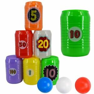 Kids Can Toss Game Set Indoor Outdoor Toy Tin Can Alley Garden Party Games 9 Pcs