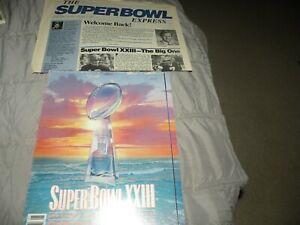 VINTAGE 1989 NFL SUPER BOWL XXIII PROGRAM 49ERS vs BENGALS + BONUS PAPER