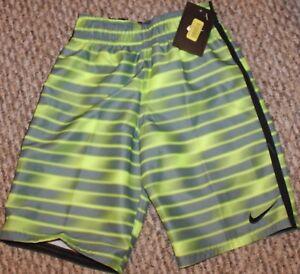 New! Boys Nike Blurred Volley Trunks/Boardies (Swim Shorts; Y/Gr) - Size 5 or 6