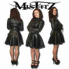 MISFITZ BLACK LEATHER LOOK STRAITJACKET PADLOCK SKATER DRESS SIZES 8-32/ CUSTOM