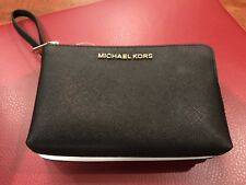 Michael Kors Jet Set Travel Double Gusset Leather Wristlet Bag Black White