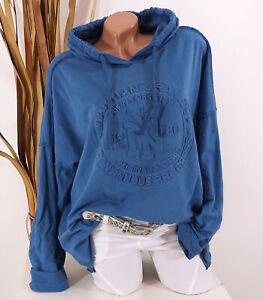 Italy Shirt Sweatshirt Hoodie 40 42 44 blau Kapuze NY 3D Oversize Damen Motiv