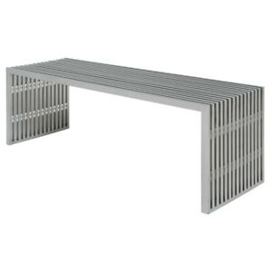 "47.3"" Long Dining Bench Brushed Shiny Stainless Steel Slatted Design Urban"