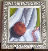Modern Still Life of Fruit Signed Original Still Life Oil Painting Peach