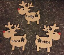 Personalised Rudolph Reindeer Christmas Xmas Hanging Wooden Tree Decoration