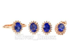 925 Solid Silver Natural Tanzanite 7X5 MM Ring Earring Pendant Women Jewelry Set