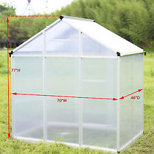 6x4Ft Aluminum Frame All Weather Walk-In Heavy Duty Greenhouse&Polycarbonate