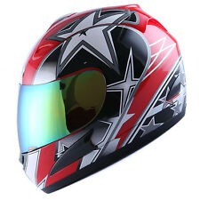 NEW DOT WOW ADULT MOTORCYCLE FULL FACE HELMET STREETBIKE STAR RED SIZE S M L XL