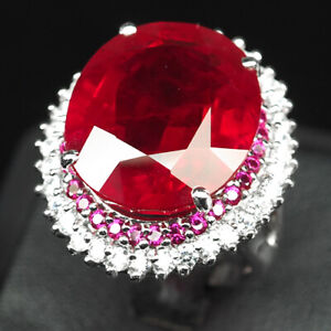 RUBY BLOOD RED OVAL 32.70 CT.SAPP 925 STERLING SILVER RING SZ 6.75 JEWELRY GIFT