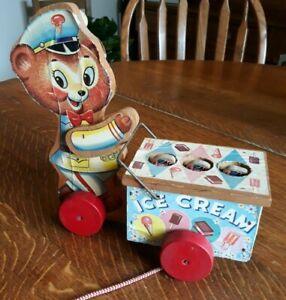 Vintage Ice Cream Wood  Pull Toy Bear Vendor 3 Baby Bears Pop Up - Rare