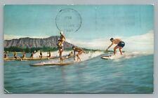 Trick Surfing—Vintage HONOLULU Waikiki—United Jet Airline Advertising 1966