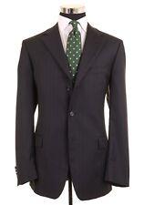 RECENT Ermenegildo Zegna Navy Blue Pinstripe Wool 2pc Suit Jacket Pants 42 L