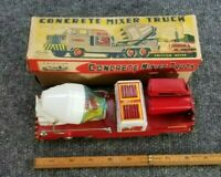 VINTAGE TOYMASTER TIN LITHO FRICTION TOY CONCRETE MIXER MADE IN JAPAN W/BOX NICE