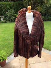Fabulous Vintage fur 1940's striped musquash jacket UK 12 14  huge shawl collar