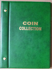 Small COIN ALBUM STOCK ALBUM GREEN COLOUR with 6 PAGES - holds 118 Coins