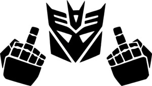 Transformers Middle Finger Funny vinyl decal !!! ALWAYS FREE SHIPPING !!!