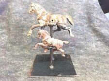 Two Vintage Heavy Solid Metal Trotting Horses on Stand ( A GREAT FIND )...