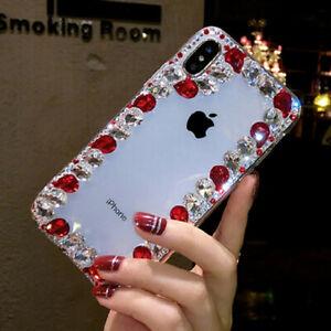 3D Handmade Luxury Sparkle Bling Diamond Rhinestone Gems Clear Phone Case Cover