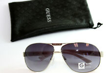 Authentic GUESS GU2073-SI-35 Mens Aviator Sunglasses Silver Tone WHITE Arms NEW