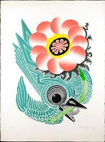Vintage Lithograph Print, Signed by Motoi Ōi Butterfly and Bird, Edition 4/200