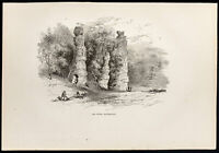 1880 - Natural Chimneys Virginia USA - Grabado Sobre Madera Antigua