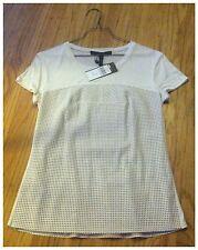 BCBG Max Azria Short Sleeve Tunic, Ivory Solid, Size XS, NWT