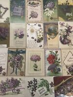Lot of 25 Pretty *Purple~Violets Flowers~Vintage~Floral Greetings Postcards-b481