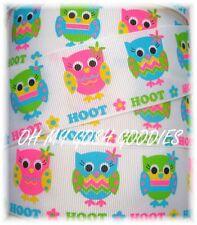 1.5 SALE SO CUTE HOOT OWL GROSGRAIN RIBBON WHAT A HOOT PINK LIME FLOWERS 5YD