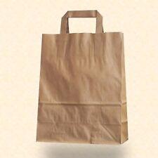 250 Papiertragetaschen Flachhenkel braun 22+10x28 cm Papier Tüten Taschen Beutel