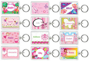 Personalised Pink Girls Kids Keyring Bag Tags - Add Name + Colour - School/Home