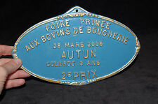 French Vintage Agriculture Plaque Trophy Award Animals Sign culards 3 ans