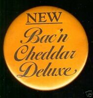 1983 pinback  ARBY's pin Bac'n Cheddar Deluxe HAMBURGER Fast FOOD Bacon Cheese