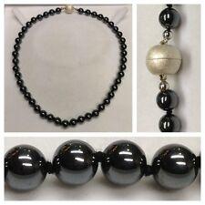 Hematita Collar/Collar 925 plata cierre magnético Joyas de piedra