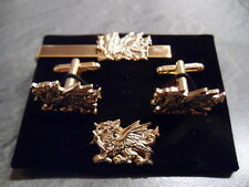 Gilt Welsh Dragon Cufflinks, lapel pin and tie slide, Wales