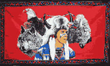 AMERICAN INDIAN with EAGLE and WOLF FLAG 5' x 3' Native American US America USA